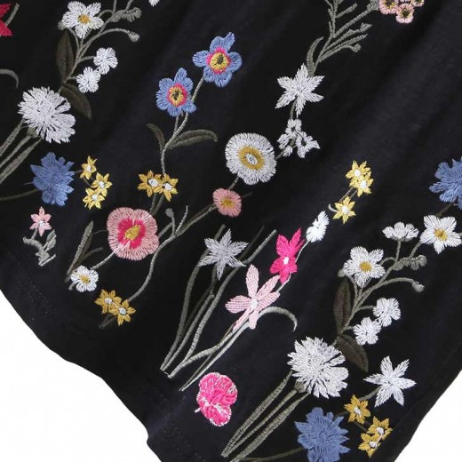 'Adriana' Black Floral T-shirt