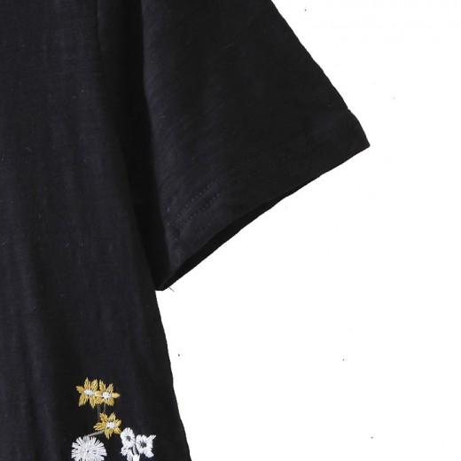 'Adriana' Black Floral T-shirt