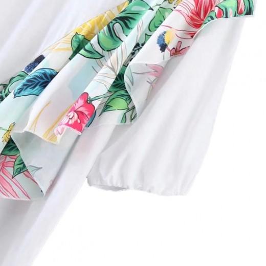 'Tayah' Floral Ruffle White T-shirt