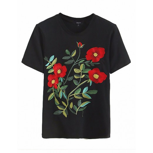 'Mila' Floral Embroidered Black T-shirt