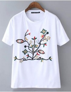 Stylish Embroidered Floral Pattern Top