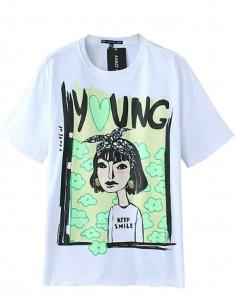 Cool Cartoon Girl Print Top