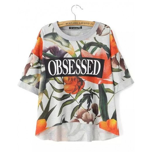 OBSESSED Letters & Floral Print T-shirt