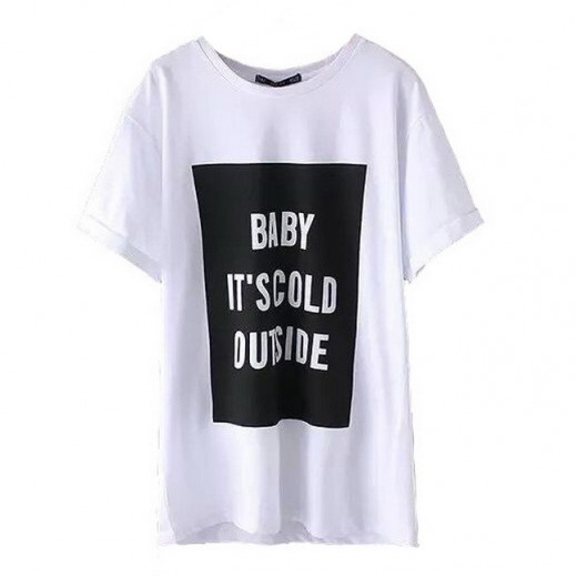 Cold Outside Letters Print T-shirt
