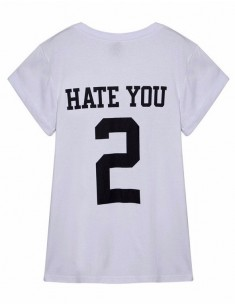 HATE YOU 2 Letters White T-shirt