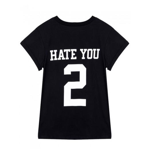 HATE YOU 2 Letters Black T-shirt
