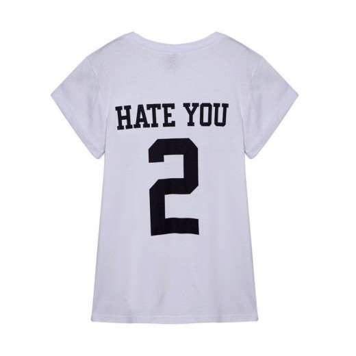 HATE YOU 2 Letters Cotton T-shirt