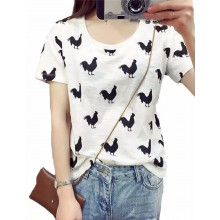 Rooster Print Cropped T-Shirt