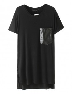 Faux Leather Pocket Long Tee