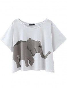 Elephants Print Basic Crop Top
