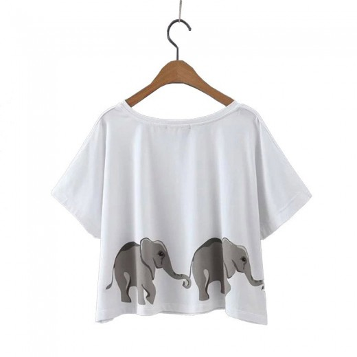 Elephants Print Basic Crop Top