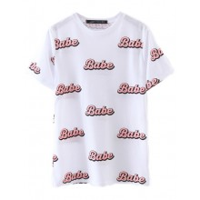 Babe Letters Print White T-shirt