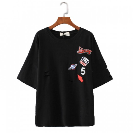 Oversized Ripped Patch T-Shirt