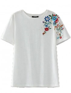 Floral Embroidery White Basic T-shirt