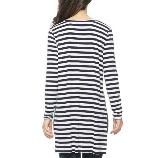 Long Navy Striped Basic Shirt