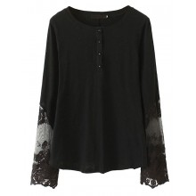 Long Sleeve Lace Insert Cotton Top