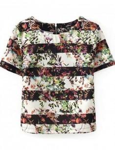 Cute Floral Print Striped T-shirt
