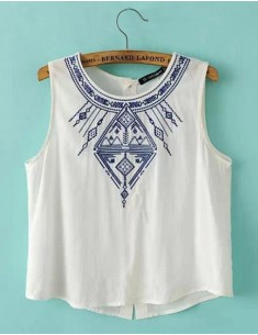 Vintage Embroidered Print White Top