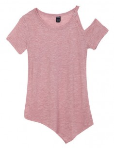 One Shoulder Basic Pink Tee