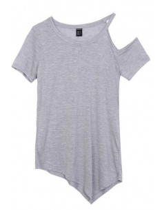 One Shoulder Basic Grey Tee
