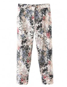 Floral Pattern Vintage Crop Pants