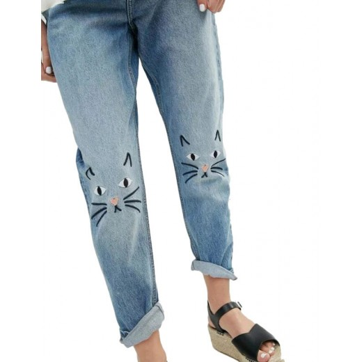 Cat Face Embroidered Jeans