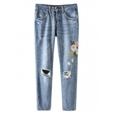 Ripped Floral Embroidered Cropped Jeans