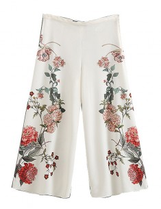 Floral Pattern Wide Crop Pants