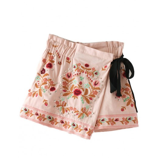 Floral Embroidered Skirt Shorts