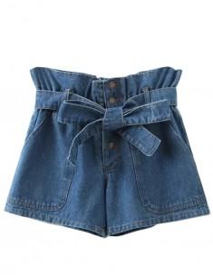 High Waisted Bow Denim Shorts