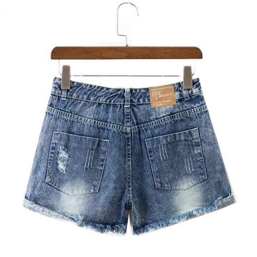 Washed Torn Denim Shorts