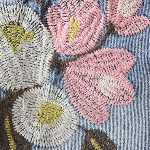 Floral Embroidered Denim Shorts