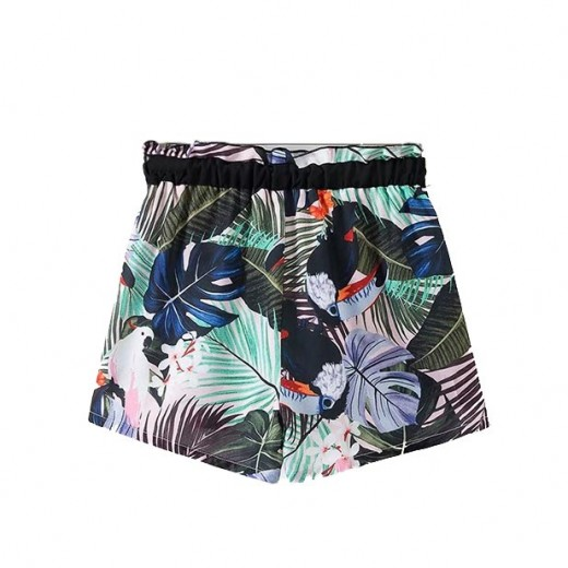 Parrot & Floral Print Front Tie Shorts