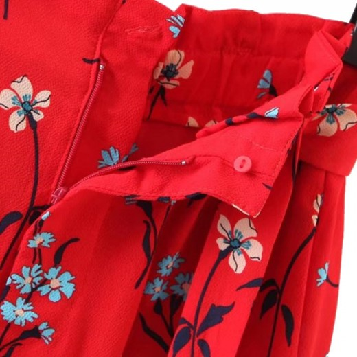 Retro Cornflowers Print Pleated Shorts