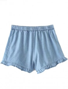 Light Blue Elastic Waist Shorts