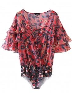 Ruffles See Through Floral Bodysuit