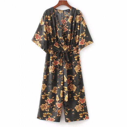 Casual Floral Summer Crop Jumpsuit