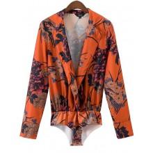 'Lexis' Retro Floral Shirt Bodysuit