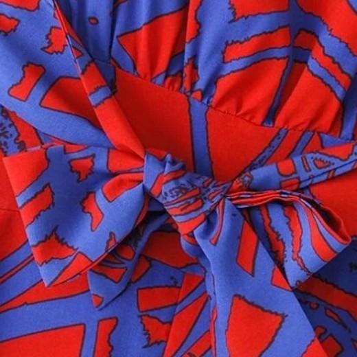 Red & Blue Geometric Pattern Pantsuit