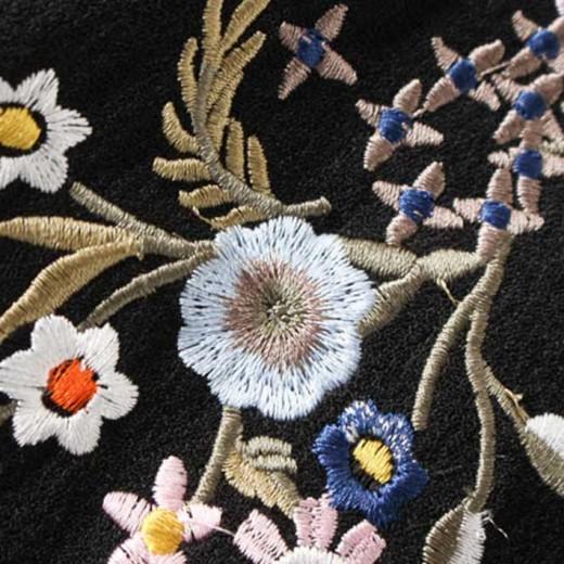 Floral Embroidered Black Romper