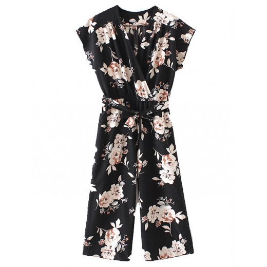 Wide Pants Floral Printed Jumpsuit