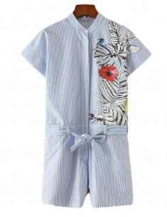 'Yael' Tropic Garden Tie Waist Playsuit