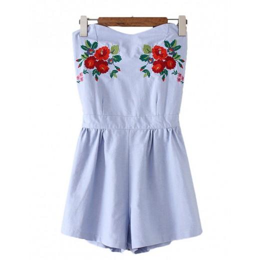 Off Shoulder Short Floral Jumpsuit