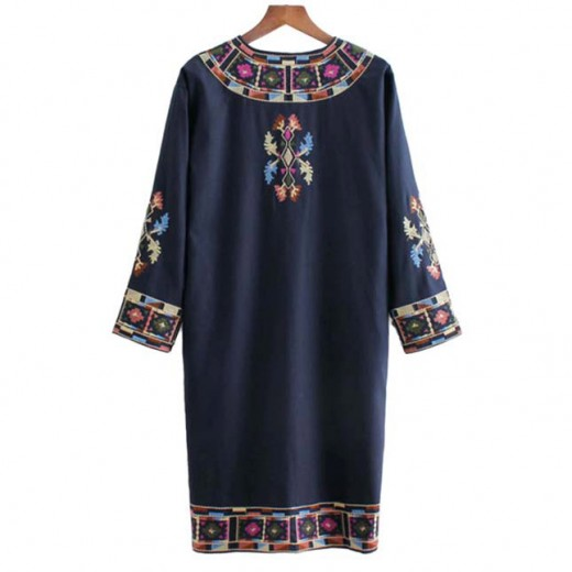 'Tonia' Embroidered Kimono Dress