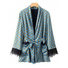 'Avril' Patterned Feathers Blue Kimono
