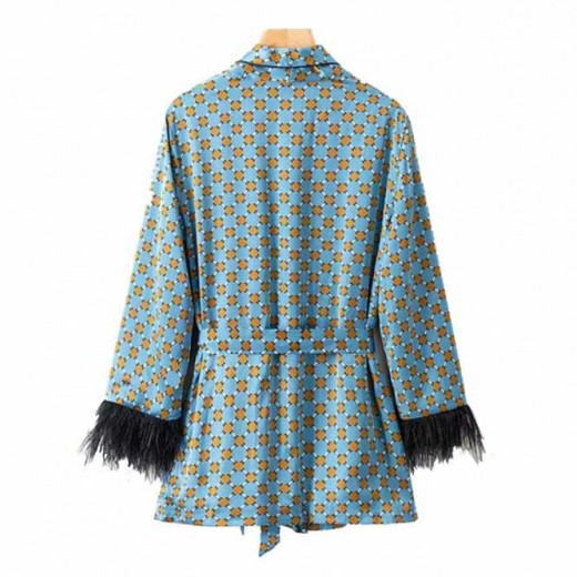 'Avril' Patterned Feathers Blue Kimono