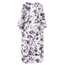Floral Print White Long Kimono