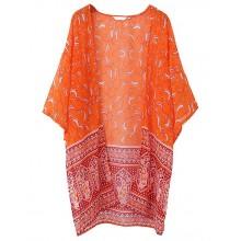 Paisley Print Orange Kimono Top