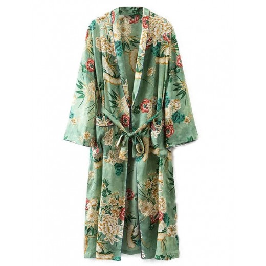 Bright Floral Pattern Long Kimono