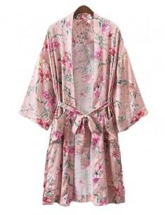 'Kathie' Long Pink Floral Kimono